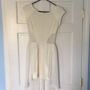 White cut out high low dress